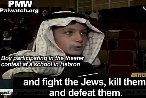 Palestinian Authority TV broadcasts incitement from children's school theater.