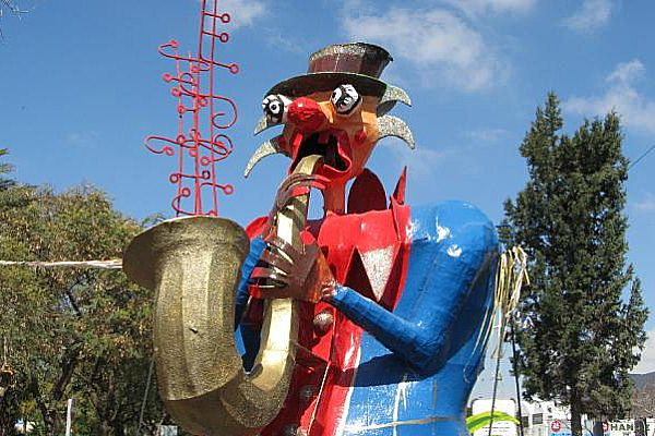 Big trombone in Maaleh Adumim Purim parade.