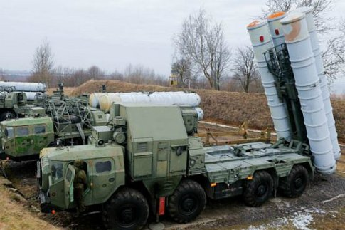 Russian S-300 surface-to-air missile systems deployed in a military exercise.