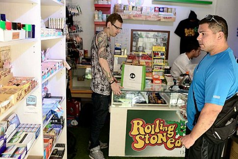 """""""Rolling Stoned"""", a smoke shop in Tel Aviv, sells smoking and vaporising paraphernalia for medical cannabis and tobacco."""