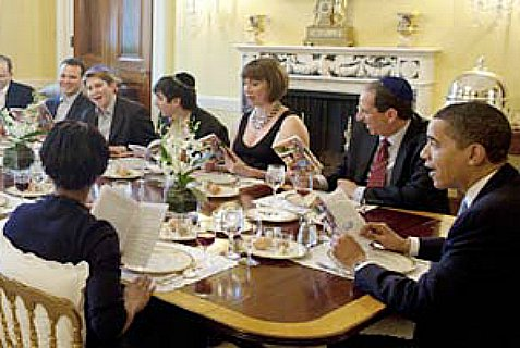 Seder at the White House. The one without the kippa is President Obama.