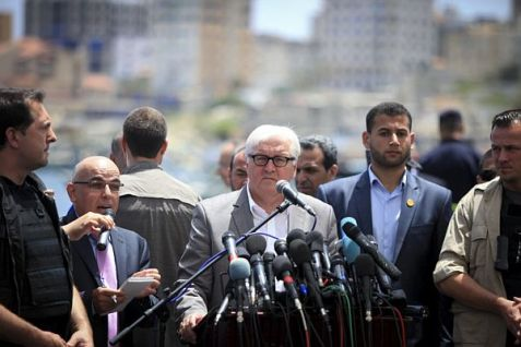 Germany's Foreign Minister Frank-Walter Steinmeier holds a news conference at the Seaport of Gaza City.