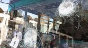 Damage to an Israeli public bus after rocks are hurled by Arabs. (archive)