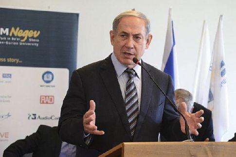 Prime Minister Binyamin Netanyahu speaks during a news conference in Be'er Sheba.