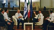 Italian Prime Minister, Matteo Renzi (R) speaks with Israeli Prime Minister Benjamin Netanyahu (L) during their meeting at Palazzo Vecchio in Florence, Italy .