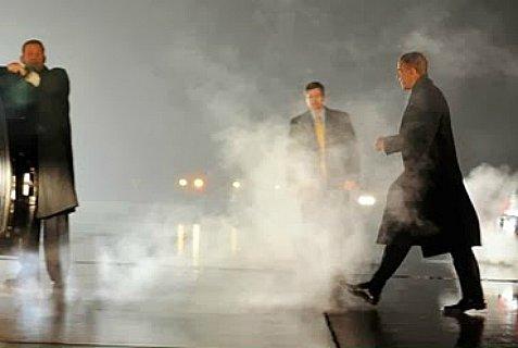 President Obama in the fog.