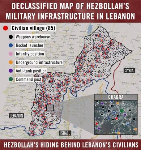 IDF Map of Hezbollah Positions in Lebanon