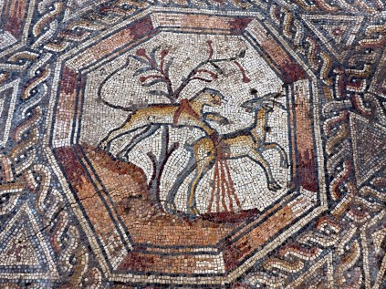 Detailed mosaic in Lod showing gazelles.