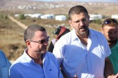 Knesset Speaker MK Yuli Edelstein (Likud) visiting Amona in the Shomron, which is under threat of evacuation, with Avihai Boaron who heads the Amona public campaign. July 28, 2016