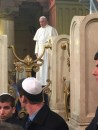 The Pope visiting  the Great Synagogue of Rome
