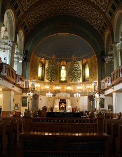 Interior of Moscow Choral Synagogue, Russia's largest and most prominent Jewish house of worship.