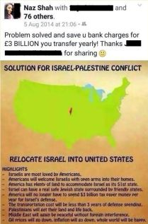 Anti-Zionist Facebook post shared and highlighted in 2014 by Muslim British Labour MP Naz Shah.