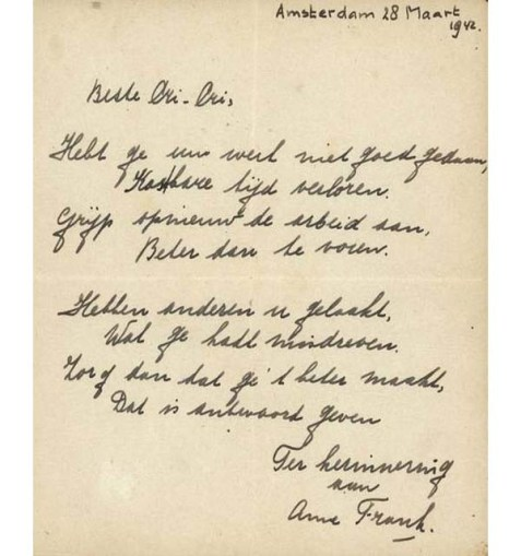 anne frank huis is a war poem Anne frank huis even now, after twice her lifetime of grief and anger in the very place, whoever comes to climb these narrow stairs, discovers how.