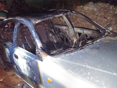 Arab car in Beitillu, allegedly burnt by the accused.