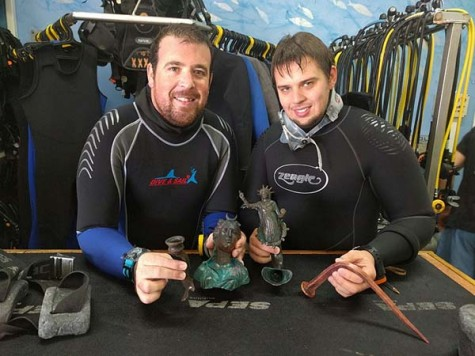 Exemplary citizenship: the divers, Ran Feinstein (right) and Ofer Ra'anan after the discovery. Photographic credit: The Old Caesarea Diving Center