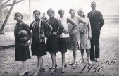 Czechoslovakian Jewish girls' soccer team and their coach, circa 1930.