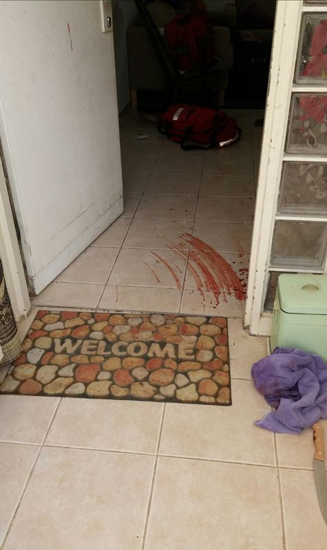 Entrance to the home of the terror attack in Eli - Mar. 2, 2016.  Photo by Hillel Meier / TPS