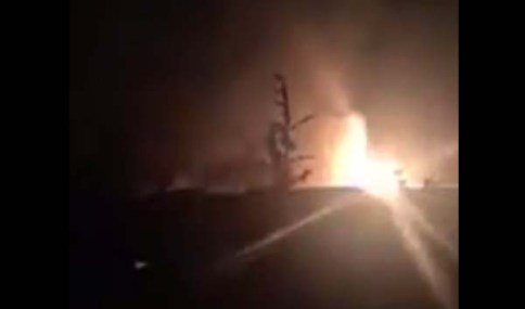 Explosion in Syrian military airport, Dec. 7, 2016.