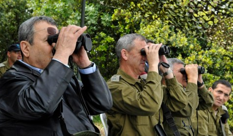 Israel's Defense Minister Ehud Barak during his visit at the Israeli Northern Command.