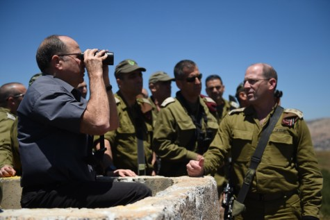 Former Israeli Minister of Defense Moshe 'Boogie' Ya'alon seen during a visit in the Golan Heights, Northern Israel.
