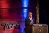 Prime Minister Benjamin Netanyahu speaks during a ceremony held at the Yad Vashem Holocaust Memorial Museum in Jerusalem, as Israel marks annual Holocaust Remembrance Day. May 04, 2016.