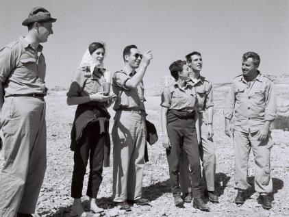 Shimon Peres (C) when he was Director General of the Defense Ministry, from 1957.