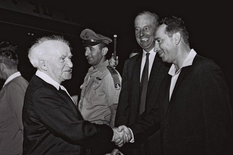 Shimon Peres (R) who was Deputy Defense Minister, with then Prime Minister David Ben Gurion, from 1962.
