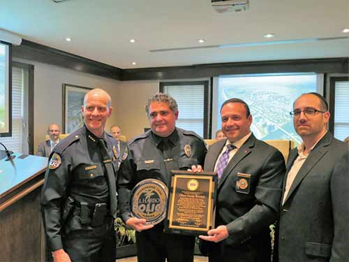 (L-R) Chief Overton of the Bal Harbour PD, officer George Waisman, Mark Rosenberg , CSE - chaplain FHP, and David Katz, CSE