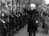 The grand mufti of Jerusalem, Hajj Amin al-Husayni, inspects Bosnian SS members in 1944