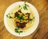 Hummus Abu Maron with slow-cooked BBQ short ribs