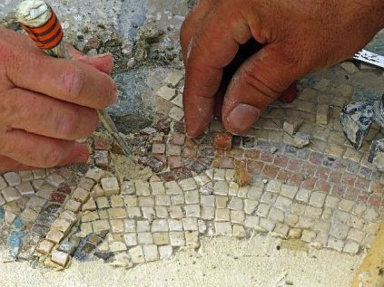 Great artistry and fine detail was used to conserve the mosaic.