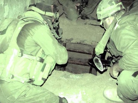 IDF soldiers hovering over a Hamas tunnel in Rafah / IDF