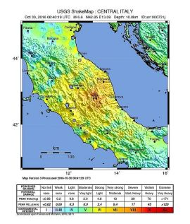 Information on the earthquake that hit central Italy, six miles from Norcia.