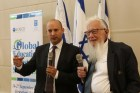 Education Minister Naftali Bennett and Nobel Prize winner Professor Yisrael (Robert) Aumann at an internatinal summit hosting education ministers of OECD countries at IASA school in Jerusalem.