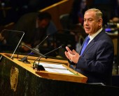 Prime Minister Benjamin Netanyahu addresses the 71st UN general assembly, September 22, 2016.