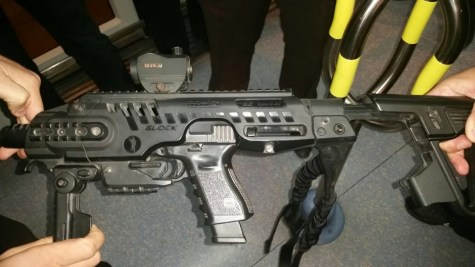 Nir Barkat's Glock in a RONI carbine conversion kit.