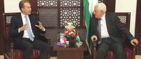 Norwegian Foreign Minister Børge Brende with PA Chairman Mahmoud Abbas