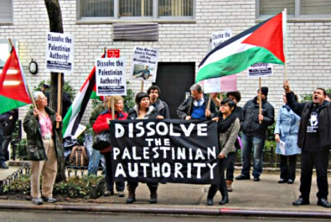 "Arab activists at the Palestinian Mission to the UN in 2011 to deliver a ""notice of termination"" to the PA representatives in the building."