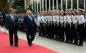 Ukraine Pres. Petro Poroshenko and Israeli Pres. Reuven Rivlin review the color guard in Kiev.