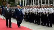 Ukraine Pres. Petro Poroshenko and Israeli Pres. Reuven Rivlin review the color guard in Kiev.