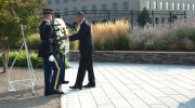 President Barack Obama places a wreath at the dateline of the Pentagon 9/11 Memorial