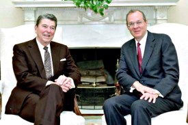 U.S. President Ronald Reagan (L) and then Supreme Court nominee Anthony Kennedy.  Nov. 11, 1987
