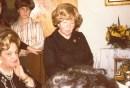 Rebbetzin Kaplan in the 1970s. To her right (seated) is Dr. Judith Grunfeld, Sarah Schenirer's closest associate.