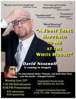 Poster advertising Nesenoff's appearance in Sea Gate last month.