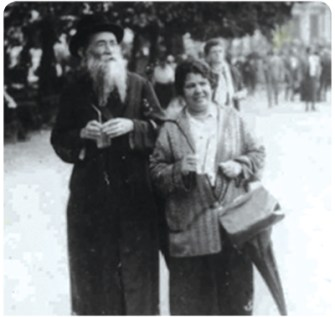Simcha and his wife, Bina (nee Dreier) Dinter, strolling in the town square of Marienbad, Czechoslovakia, c. 1923. (Thanks to Dinter family members.)