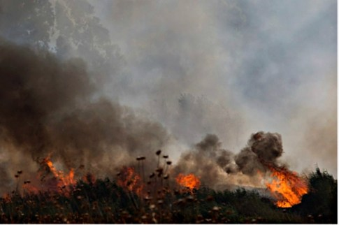 Fire raging in Israel's Golan Heights, caused by four missiles fired from the Syrian side of the Israeli-Syrian border on August 20, 2015.