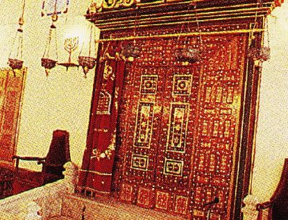 Torah ark with inlaid mother-of-pearl at Ahrida Synagogue in Istanbul.