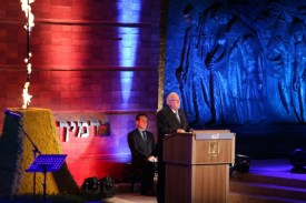 President Rivlin addressing the annual Holocaust Remembrance Day ceremony at Yad Vashem, on May 4, 2016.