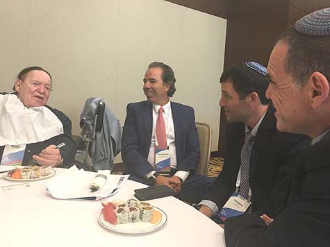 Yesha Council reps having lunch with Sheldon Adelson. / Courtesy