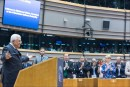 Palestinian Authority President Mahmoud Abbas receives a standing ovation at the European Parliament in Brussels, after falsely claiming in his speech that Israeli rabbis were calling to poison Palestinian water. Abbas later recanted and admitted that his claim had been false.